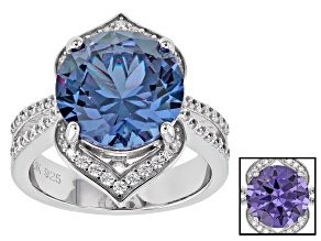Lab Created Color Change Sapphire & White Cubic Zirconia Rhodium Over Silver Ring