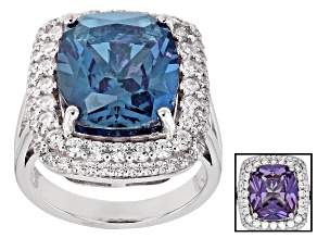 Lab Created Color Change Sapphire & White Cubic Zirconia Rhodium Over Silver Ring 12.40ctw