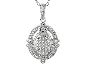White Cubic Zirconia Rhodium Over Sterling Silver Cluster Pendant With Chain 0.50CTW