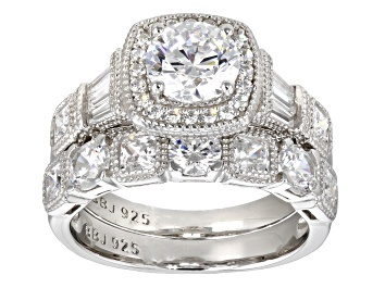 Picture of White Cubic Zirconia Rhodium Over Sterling Silver Ring With Band 5.89ctw
