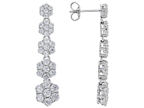 White Cubic Zirconia Rhodium Over Sterling Silver Earrings 6.72ctw