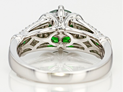 Green & White Cubic Zirconia Rhodium Over Sterling Silver Ring 4.14ctw