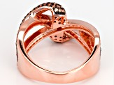 Brown & White Cubic Zirconia 18K Rose Gold Over Sterling Silver Ring 1.75ctw