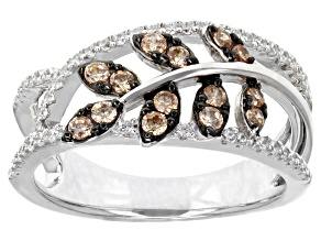 Champagne & White Cubic Zirconia Rhodium Over Sterling Silver Ring 0.91ctw