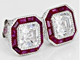 Lab Created Ruby & White Cubic Zirconia Rhodium Over Sterling Silver Earrings 3.32ctw