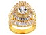 White Cubic Zirconia 18K Yellow Gold Over Silver Ring 10.57CTW