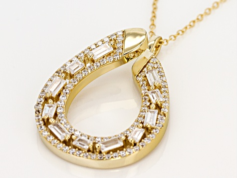 White Cubic Zirconia 18K Yellow Gold Over Sterling Silver Pendant With Chain 2.99ctw