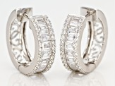 White Cubic Zirconia Rhodium Over Sterling Silver Hoop Earrings 8.98ctw