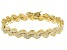 White Cubic Zirconia 18K Yellow Gold Over Sterling Silver Bracelet 5.20ctw