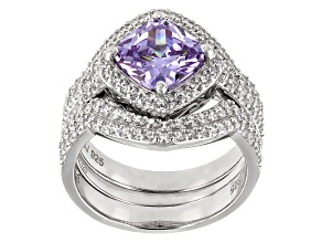 Purple & White Cubic Zirconia Rhodium Over Sterling Silver Ring With Bands 6.35ctw