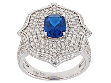 Picture of Lab Blue Spinel & White Cubic Zirconia Rhodium Over Sterling Silver Ring 3.56ctw