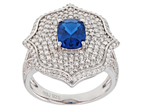 Lab Created Blue Spinel & White Cubic Zirconia Rhodium Over Sterling Silver Ring 3.56ctw