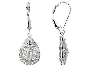 White Cubic Zirconia Rhodium Over Sterling Silver Earrings 0.43CTW