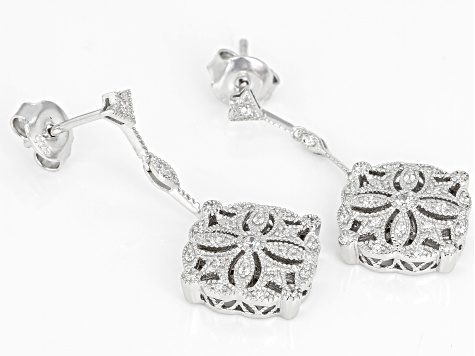 White Cubic Zirconia Rhodium Over Sterling Silver Cluster Earrings 0.47ctw