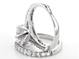 White Cubic Zirconia Rhodium Over Sterling Silver Ring With Band 5.45CTW