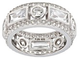 White Cubic Zirconia Rhodium Over Sterling Silver Band Ring 7.53ctw