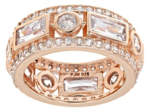 White Cubic Zirconia 18K Rose Gold Over Sterling Silver Band Ring 7.53ctw