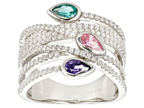 Green, Pink, Purple, & White Cubic Zirconia Rhodium Over Sterling Silver Ring 1.69ctw