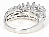 White Cubic Zirconia Rhodium Over Sterling Silver Ring 2.29ctw