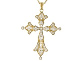 White Cubic Zirconia 18K Yellow Gold Over Sterling Silver Cross Pendant With Chain 2.20ctw