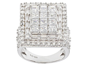 White Cubic Zirconia Rhodium Over Sterling Silver Statement Ring 8.48ctw