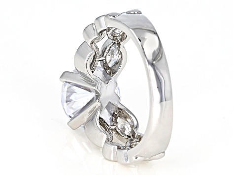 White Cubic Zirconia Rhodium Over Sterling Silver Center Design Ring 6.75ctw