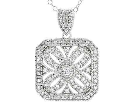 White Cubic Zirconia Rhodium Over Sterling Silver Cluster Pendant With Chain 0.67ctw