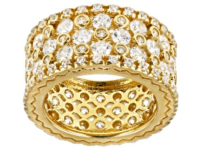White Cubic Zirconia 18K Yellow Gold Over Sterling Silver Ring 8.92ctw