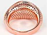 Brown And White Cubic Zirconia 18K Rose Over Sterling Silver Ring 3.40CTW