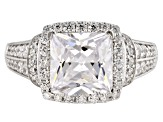 White Cubic Zirconia Rhodium Over Sterling Silver Center Design Ring 5.48ctw