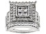 White Cubic Zirconia Rhodium Over Sterling Silver Cluster Ring 4.82ctw