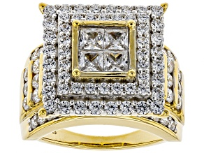 White Cubic Zirconia 18K Yellow Gold Over Sterling Silver Cluster Ring 4.82ctw