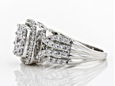 White Cubic Zirconia Rhodium Over Sterling Silver Cluster Ring 2.60ctw
