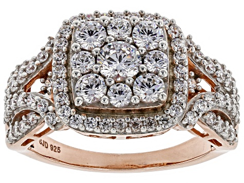 White Cubic Zirconia 18K Rose Gold Over Sterling Silver Cluster Ring 2.60ctw