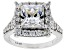 White Cubic Zirconia Rhodium Over Sterling Silver Center Design Ring 6.42ctw