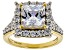 White Cubic Zirconia 18K Yellow Gold Over Sterling Silver Ring 6.42ctw
