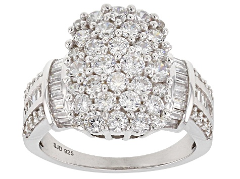 White Cubic Zirconia Rhodium Over Sterling Silver Cluster Ring 3.87ctw