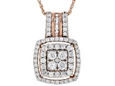 White Cubic Zirconia 18K Rose Gold Over Sterling Silver Cluster Pendant With Chain 1.77ctw