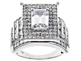 White Cubic Zirconia Rhodium Over Sterling Silver Center Design Ring 5.47ctw