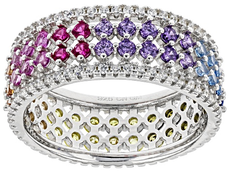 Multicolor & White Cubic Zirconia Rhodium Over Sterling Silver Band Ring 3.84ctw
