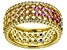 Multicolor Cubic Zirconia 18K Yellow Gold Over Sterling Silver Band Ring 3.84ctw