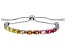 Multicolor Cubic Zirconia Rhodium Over Sterling Silver Adjustable Bracelet 10.76ctw