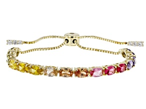 Multicolor Cubic Zirconia 18K Yellow Gold Over Sterling Silver Adjustable Bracelet 10.76ctw