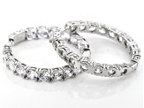 White Cubic Zirconia Rhodium Over Sterling Silver Hoop Earrings 29.92CTW