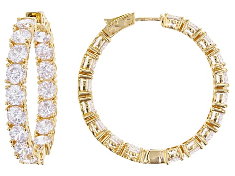 White Cubic Zirconia 18K Yellow Gold Over Sterling Silver Hoop Earrings 29.92CTW