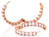 White Cubic Zirconia 18K Rose Gold Over Sterling Silver Hoop Earrings 29.92CTW