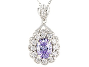 Purple And White Cubic Zirconia Rhodium Over Sterling Silver Pendant With Chain 5.43CTW