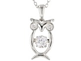 White Cubic Zirconia Rhodium Over Silver Owl Pendant With Chain 1.05CTW