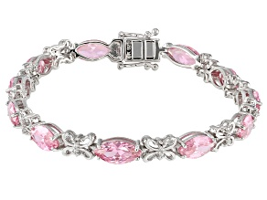 Pink And White Cubic Zirconia Rhodium Over Sterling Silver Bracelet 18.58CTW