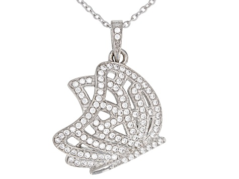 White Cubic Zirconia Rhodium Over Sterling Silver Butterfly Pendant With Chain 1.21CTW